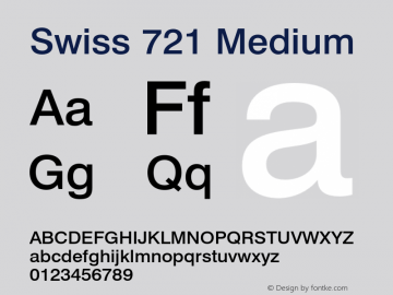 Swiss 721 Medium 2.0-1.0 Font Sample