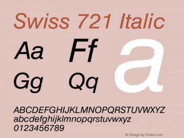 Swiss 721 Italic 2.0-1.0 Font Sample
