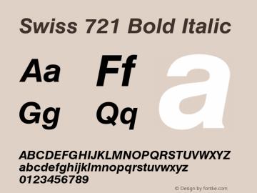 Swiss 721 Bold Italic 2.0-1.0 Font Sample