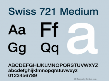 Swiss 721 Medium 003.001 Font Sample