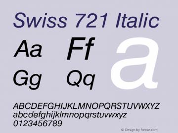 Swiss 721 Italic 003.001 Font Sample
