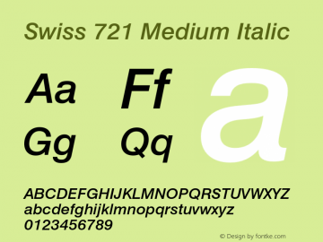 Swiss 721 Medium Italic 003.001 Font Sample