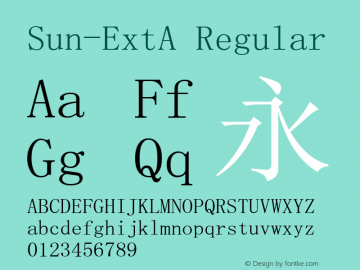 Sun-ExtA Regular Version 5.4 Font Sample