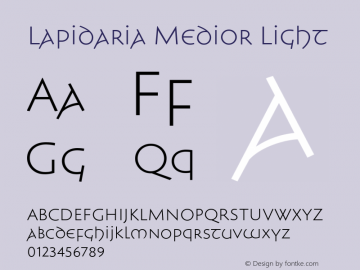 Lapidaria Medior Light Version 1.000 Font Sample