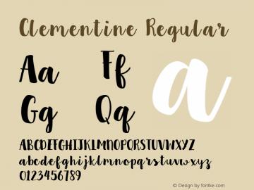 Clementine Regular Version 1.0 Font Sample