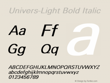 Univers-Light Bold Italic Converted from D:\FONTTEMP\UNIVERS3.BF1 by ALLTYPE Font Sample