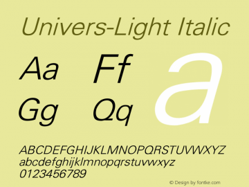 Univers-Light Italic Converted from D:\FONTTEMP\UNIVERS3.TF1 by ALLTYPE Font Sample