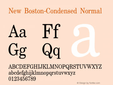 New Boston-Condensed Normal 1.0/1995: 2.0/2001 Font Sample
