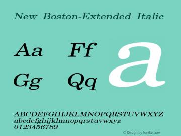 New Boston-Extended Italic 1.0/1995: 2.0/2001 Font Sample