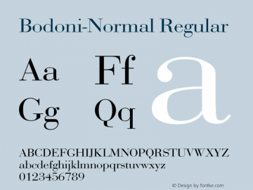 Bodoni-Normal Regular Converted from F:\BODONI.TF1 by ALLTYPE Font Sample