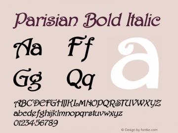 Parisian Bold Italic 1.0/1995: 2.0/2001 Font Sample