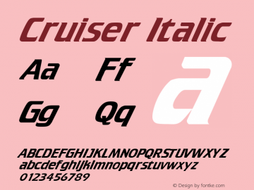 Cruiser Italic Altsys Fontographer 4.1 5/15/95 Font Sample