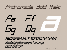 Andromeda Bold Italic Altsys Fontographer 3.5  3/4/93 Font Sample