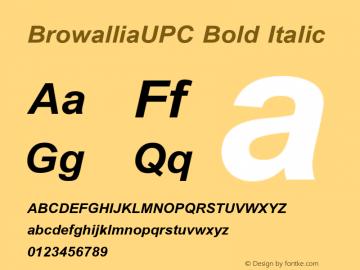 BrowalliaUPC Bold Italic Version 2.20 Font Sample
