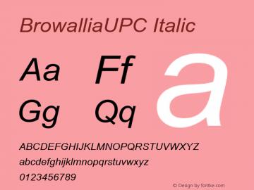 BrowalliaUPC Italic Version 2.20 Font Sample