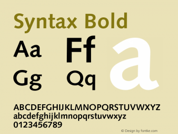Syntax Bold 001.001 Font Sample