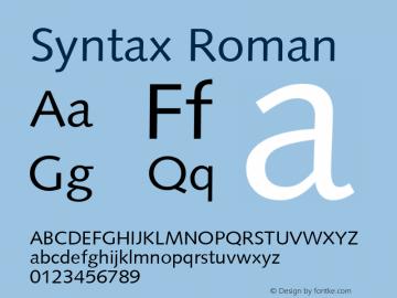 Syntax Roman Version 1.00 Font Sample