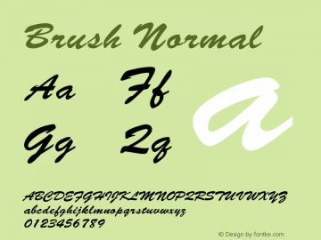 Brush Normal 1.000 Font Sample