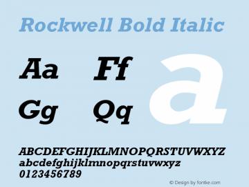 Rockwell Bold Italic Version 1.00 Font Sample