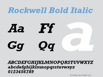 Rockwell Bold Italic 0.70 Font Sample