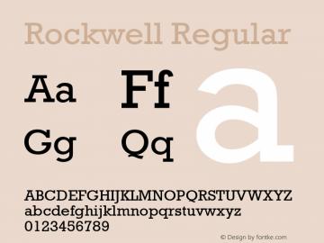 Rockwell Regular Version 1.61 Font Sample