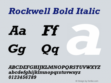 Rockwell Bold Italic Version 1.65 Font Sample