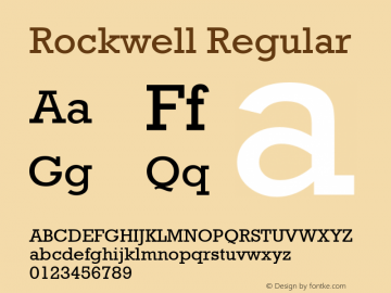 Rockwell Regular Version 2.0 - April 1993 Font Sample