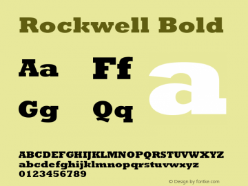 Rockwell Bold 001.000 Font Sample