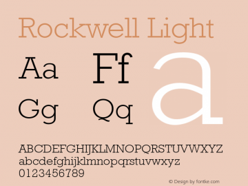 Rockwell Light 001.000 Font Sample