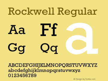 Rockwell Regular 4 Font Sample