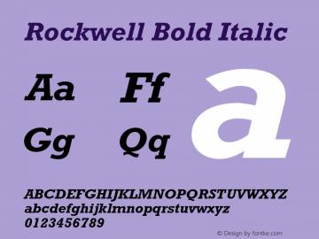 Rockwell Bold Italic 001.000 Font Sample