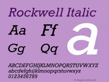 Rockwell Italic 4 Font Sample