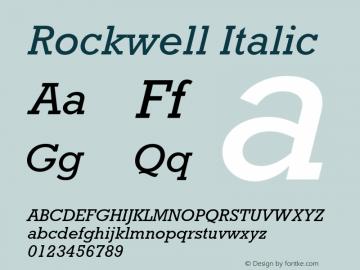 Rockwell Italic 001.000 Font Sample