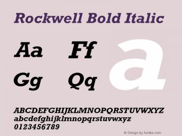 Rockwell Bold Italic 4 Font Sample