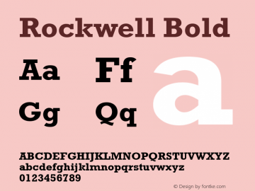 Rockwell Bold Version 1.00 Font Sample