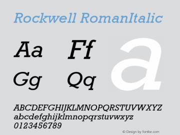 Rockwell RomanItalic Version 1.00 Font Sample