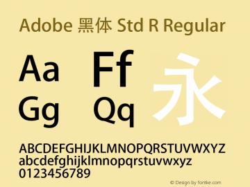 Adobe 黑体 Std R Regular Version 5.004;PS 5.003;hotconv 1.0.40;makeotf.lib2.0.13267图片样张