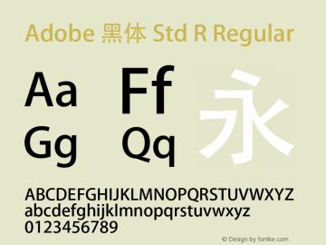 Adobe 黑体 Std R Regular Version 5.005;PS 5.004;hotconv 1.0.49;makeotf.lib2.0.15106 Font Sample