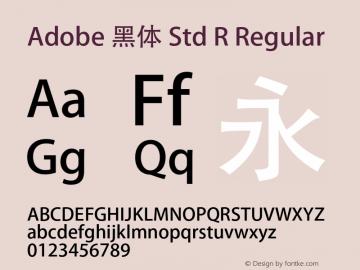 Adobe 黑体 Std R Regular Version 5.016;PS 5.006;hotconv 1.0.67;makeotf.lib2.5.33168图片样张