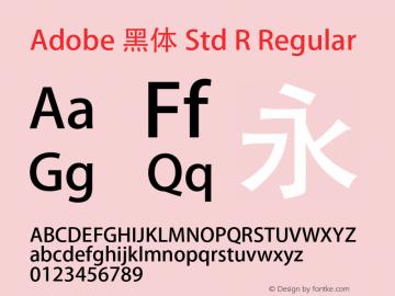 Adobe 黑体 Std R Regular Version 5.018;PS 5.007;hotconv 1.0.68;makeotf.lib2.5.35818图片样张