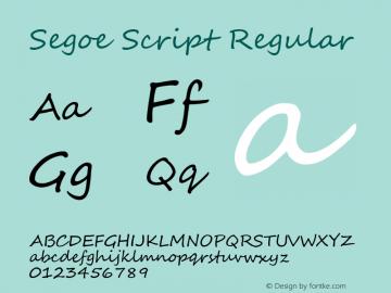 Segoe Script Regular Version 5.00 Font Sample