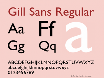 Gill Sans Regular Version 2.0 - September 28, 1995 Font Sample