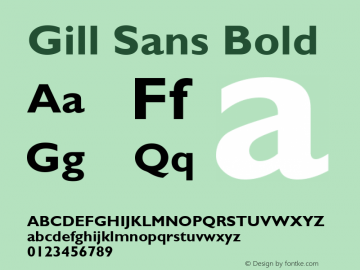 Gill Sans Bold Version 2.0 - September 28, 1995 Font Sample