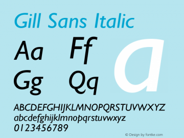 Gill Sans Italic Version 2.0 - September 28, 1995 Font Sample