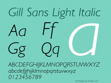 Gill Sans Light Italic 1.1d1 Font Sample