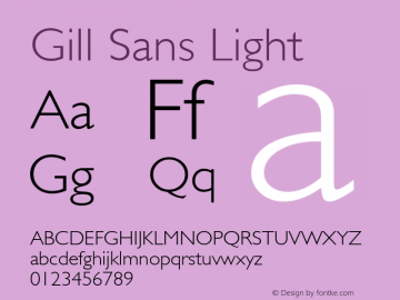 Gill Sans Light 1.1d1 Font Sample