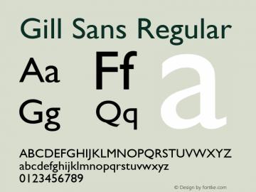 Gill Sans Regular 1.1d1 Font Sample