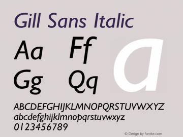 Gill Sans Italic 1.1d1 Font Sample