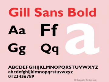 Gill Sans Bold Version 2.0 - Lotus - April 13, 1995 Font Sample