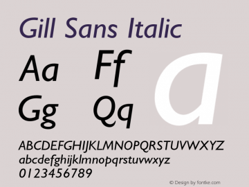 Gill Sans Italic 001.002图片样张